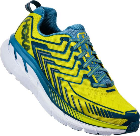 Hoka One One Clifton 5 Chaussures De Course Bleu / Jaune Hommes kg1vC